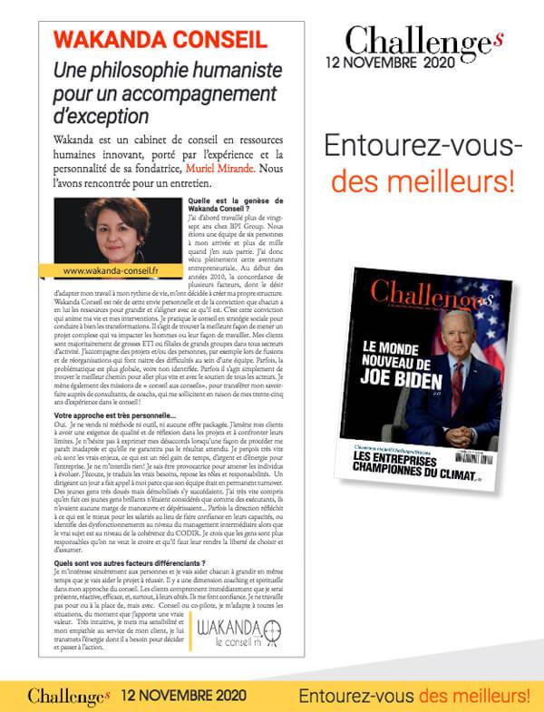 Presse - paru dans Challenges 12 novembre 2020